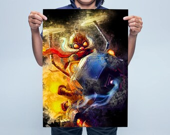 Corki Poster, LoL Art Print, League of Legends Art Poster, Poster Game Poster Big Sizes Premium Paper, Black Watercolor Poster SB219