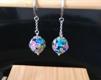 Flower clay Navy blue glass chain attachment sleeper titanium ball earrings