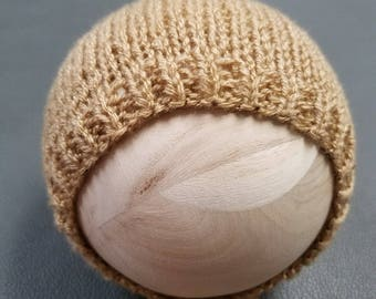 Newborn bonnet - knit bonnet - newborn photo prop - tan bonnet - neutral bonnet