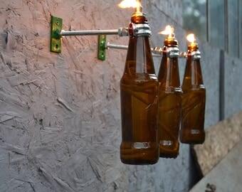 3 Beer Bottle Tiki Torches - Gift for Mom - Outdoor Lighting - Garden Decor - Oil Lamp - Wine Bottle Tiki - Seasonal Decor