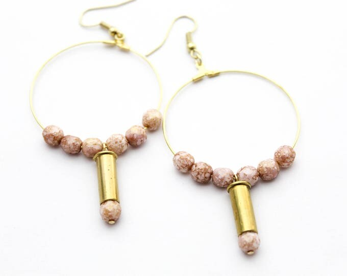 Featured listing image: Blush & Gold Hoop Bullet Earrings