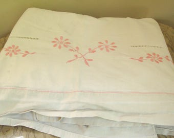 vintage French embroidered sheet