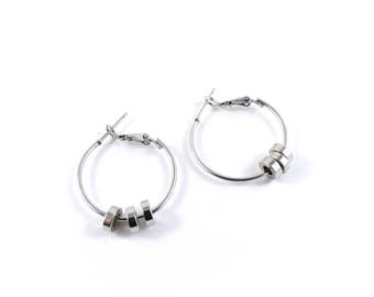 Silver earrings, hoop earrings, dress jewellery, recycled jewellery, simple earrings.
