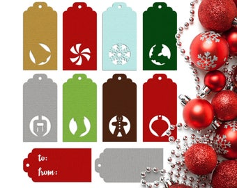 Winter Holiday Gift Tags SVG File Template Set