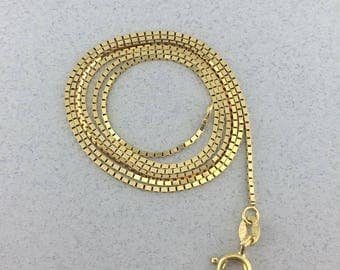 Stunning Solid 14k Yellow Gold Box Link Chain Necklace! 18 Inches!