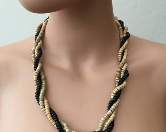 Swirled Three Strands Wooden Necklace