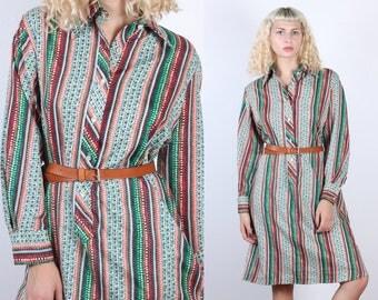 70s Lanvin Shirtwaist Dress // Vintage Designer Striped Secretary Shirt Dress Long Sleeved - Extra Large XL