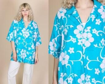 70s Hilo Hattie Hawaiian Shirt - 4XL // Vintage Blue White Floral Button Up Aloha Top