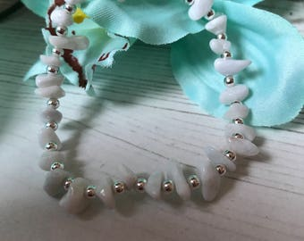 White Quartz Silver Plated Elasticated Bracelet, Stacking Bracelet, Ladies