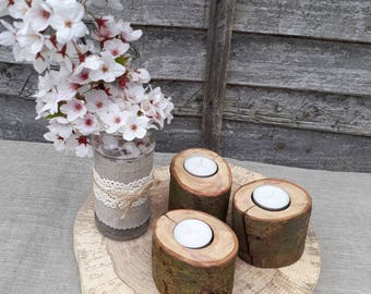 3 Rustic Wooden Branch Tree Tea Light Wood Candle Holders Wedding Valentine's day Log Christmas Perfect Cozy Home decoration Nice Gift