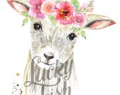 Sweet Lamb with Flower Crown - Print
