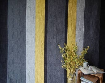 Quilt Queen Size Gray Yellow Charcoal  Modern Reversible