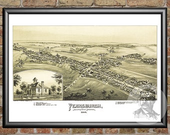 Pennsburgh, Pennsylvania Art Print From 1894 - Digitally Restored Old Pennsburgh, PA Map - Perfect For Fans Of Pennsylvania History
