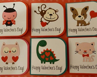 Set of 6  Adorable Cute Handmade Animal Valentines Day Cards, Mini Valentines Cards, Kids Valentines Cards, Classroom Valentine