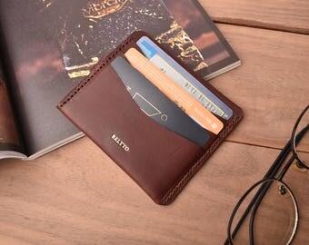 Handmade Leather wallet, 1/2 Slim card wallet, bill business card