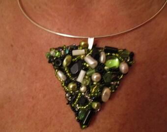 Beaded triangle pendant