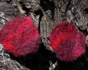 Earrings  Woollen flower shade Red Rose