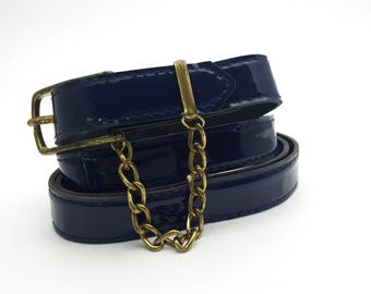 Navy Blue Century Canada Vinyl Size 16 90s Women's Belt with Tiny Chain Gold Tone Metal Buckle