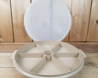 Vintage Tupperware 70s Brown Party Platter Divided Sections Large Round Vegetable Tray Dip Space Container Canada Kitchen Crackers