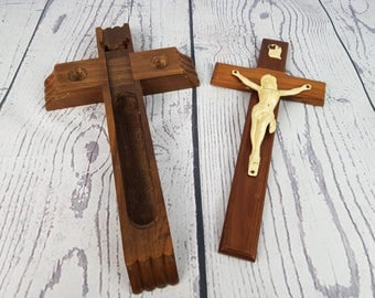 Vintage Wall Wooden Cross and Crucifix with Compartment Holy Water Standing Crucifix w/ Hidden area Religious Gift for Christian Catholic