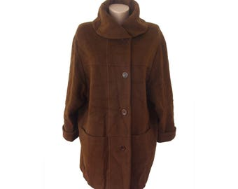 Vintage Kemper women brown coat Superfine Virgin Wool and CASHMERE Fabric Made in Italy