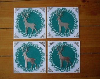 """4 x  6"""" square hand made Christmas Cards (reindeer)"""