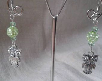 """little OWL and Green Pearl"" earrings"