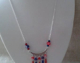 """necklace """"red and blue beads and silver chandelier"""""""