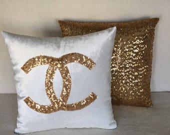 Gold Chanel Pillow Decorative Pillow Handmade