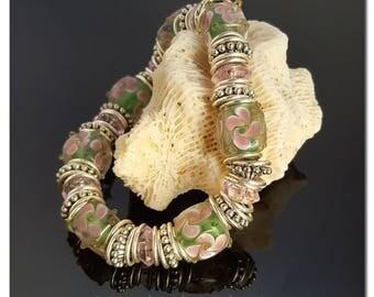 Flower Bracelet, Lampwork Bracelet, Beaded Bracelet, Floral Jewelry, Spring Jewelry, Dainty Bracelet, Handmade Jewelry, Gift for her