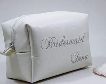 Cosmetic Bag, Bridesmaid Makeup Bag, Bridesmaid Gift, Cosmetic Bag, Leather Makeup Bag, Small Travel Bag