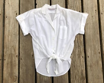 White Tie Front Vintage Short Sleeved Button Up Shirt