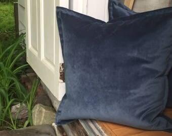 "Atlantic Blue Velvet Throw Pillow Cover 22""x 22"" Luxurious Thick Velvet Throw Pillow with 1"" Flange"