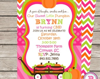 First Birthday Party Invitation Pumpkin Patch Our sweet Little Pumpkin is turning One Fall Harvest Halloween Front Back Digital File Prints