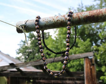 African - Handmade - Glass Powdered - Beaded Necklace