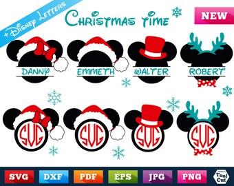 Disney Santa Svg Mickey Christmas Svg Mickey in Santa Hat Svg Disney Split Svg Mickey Reindeer Antlers Cricut Clip Art Silhouette Svg Dxf
