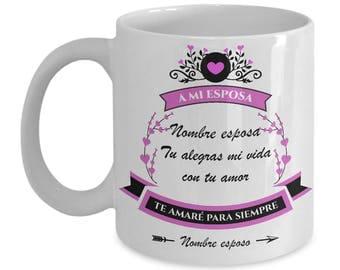 Regalo Personalizado Tazas de Amor con Mensajes para Esposa