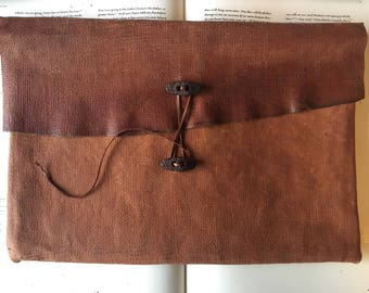 Rugged Leather Laptop Sleeve with Tie Closure