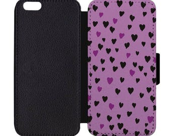 Heart Print Black Leather Wallet Flip Phone Case Cover Apple iPhone 5 5S 6 6S 7 7S 8 8S X Plus +