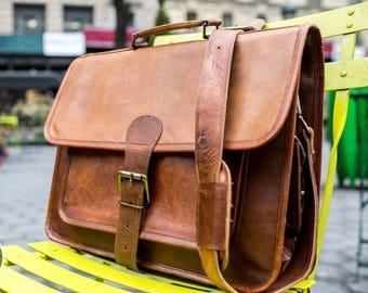 Shakun Leather Handmade Messenger Laptop Bag Single Strap Front With Side...