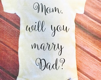 Marriage Proposal Onesie - Ask to be my wife - Ask for her hand in marriage - Baby Mama proposal - Pregnancy announcement onesie