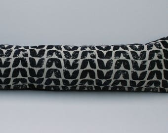 Scandinavian style bird print draught excluder cushion in navy
