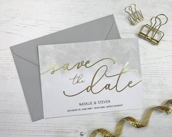 Gold Save the Date, Grey Watercolour Save the Date, Modern Save the Date, Wedding Announcement, Gold Foil