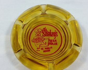 Collectible Shakeys Pizza Parlor Ashtray Yellow Glass Vintage Cigarette Tray