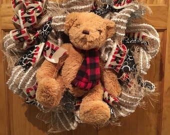 Big Teddy Bear Merry Christmas Deco Mesh Wreath