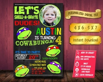 Ninja Turtle / Ninja Turtle Invitation / Ninja Turtle Birthday / Ninja Turtle Party / Ninja Turtle Birthday Invitation / Ninja Turtle Invite