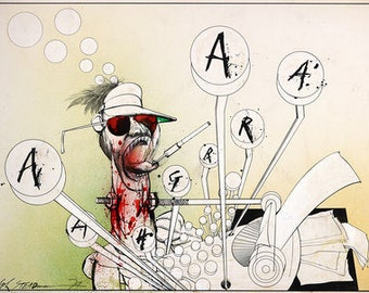 Ralph Steadman Signed Hunter S. Thompson AARGH Art Print