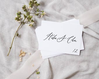 Organic Calligraphy Place Cards / Handlettered Escort Cards