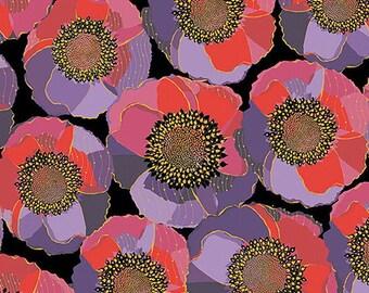 tissu patchwork noir, rose et lilas Bellisima poppy Quilting treasures