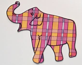 Plaid Elephant Sticker